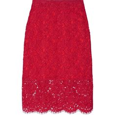 Diane von Furstenberg Glimmer corded lace pencil skirt (8 490 UAH) ❤ liked on Polyvore featuring skirts, red, red knee length pencil skirt, floral skirt, floral-print pencil skirts, pencil skirt and red pencil skirt