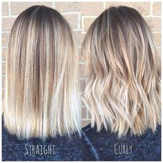 hellblonder Balayage, gerade und lockig gestylt light blonde balayage, straight and curly styled Light Blonde Balayage, Balayage Straight Hair, Short Balayage, Bright Blonde, Balayage Hair Blonde Medium, Medium Length Hair Blonde, Shoulder Length Hair Blonde, Blonde Ombre Short Hair, Baylage Blonde