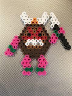 Kakamora coconut pirate (from Moana) made of melty (perler) beads.