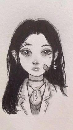 Indie Drawings, Art Drawings Sketches Simple, Pencil Art Drawings, Cute Drawings, Drawings Of Girls, Drawings Of People, Gothic Drawings, Creepy Drawings, Aesthetic Drawings
