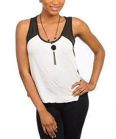 Take a look at this White & Black Color Block Tank by Buy in America on #zulily today!