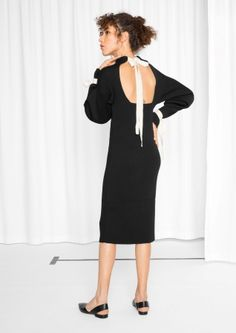 & Other Stories image 3 of Open Back Strap Dress in Black