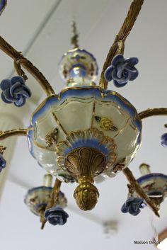 Blue Porcelain Roses on a vintage Chandelier