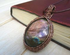 Crazy Lace Agate Pendant  Wire Wrapped Jewellery by EmmaWyattArt