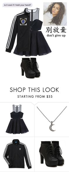 """//I haven't seen your face in ages\\"" by punk-rock-dreamer ❤ liked on Polyvore featuring Bebe, KC Designs and adidas"