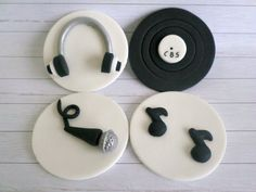 Music DJ Party Cupcake Edible Fondant Toppers Decor, Note Microphone Headset Record, Black White Gothic Birthday, Music Lover Gift - set 12 by LenasCakes on Etsy https://www.etsy.com/listing/154552193/music-dj-party-cupcake-edible-fondant