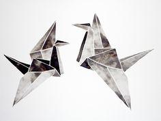 Watercolor Original - Origami - Painting - Artwork - Black - White - Gray - Modern