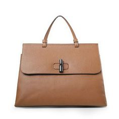 128cf55d4f8 Bamboo Daily Leather Top Handle Bags 370830 Brown