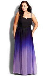 City Chic Notch Neckline Ombré Gown (Plus Size)