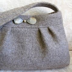 Taupe JASPER Handbag Recycled Sweater Wool Purse by FeltSewGood, $46.00