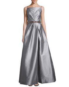 80bd9410e3cb Square-Neck Gown with Beaded Band, Gunmetal by ML Monique Lhuillier at  Neiman Marcus. Last Call ...