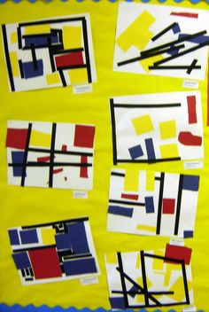 Kindergarten Mondrian- love this! I do a Mondrian art lesson in art with older kids, this is cool that it can be adapted to little kids too! Talk about primary colors, line, geometric shapes! Classroom Art Projects, School Art Projects, Art Classroom, Kindergarten Art Lessons, Art Lessons Elementary, Grade 1 Art, Mondrian Art, Material Didático, Artist Project