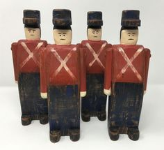 Vintage Hand Crafted Wooden Wolf Creek Soldiers Set of Four Artist Signed 1988 Wolf Creek, Hand Painted, American Folk Art, Artist, Painting, Vintage, Hands, Folk