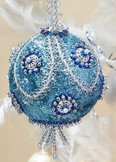 kit makes 3 ornament tranquility azure blue silver beads sequins - Christmas Ball Decoration Ideas