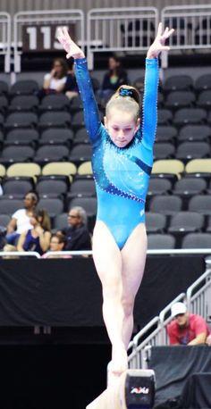 Norah Flatley Wins in Beautiful Blue GK Leotard at the 2014 U.S. Gymnastics Championship | GK Elite