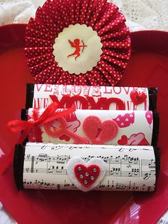 These Valentine candy wrappers are so cute with a delicious chocolate candy bar inside.