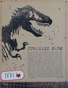 () Kraft, black, white, red ♥ Huge cut out dino and blood splatter. Typewriter font, ticket