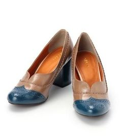 Color combo classic pumps / ShopStyle(ショップスタイル): COCUE 太ヒールカラーコンビクラシカルパンプス(ブルー系(592)) - shopstyle.co.jp