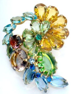 JULIANA Multicolor Brooch Rhinestone Flower Vintage High Fashion Collectable Jewelry Pin Yellow Blue Green Purple Summer Spring