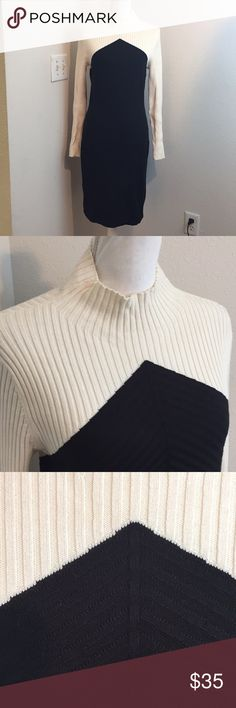 """Ann Taylor Black & White Ribbed Sweater Dress 17.5"""" bust and 39.5"""" length. 93% cotton, 6% nylon and 1% spandex Ann Taylor Dresses Midi"""