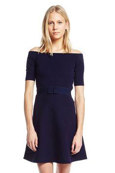 Claude Pierlo- Robe Maille TAHITIENNE indigo - Robe Manches Longues Femme -