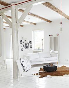 30 White Living Room Design & Decorating - Home Decor & Design Living Room Designs, Living Spaces, Bedroom Designs, Living Area, White Wooden Floor, White Cowhide Rug, Cowhide Rugs, Beautiful Living Rooms, White Rooms