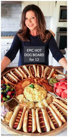 Epic Hot Dog Board for Twelve #epichotdogboard #hotdogs #hotdogboard