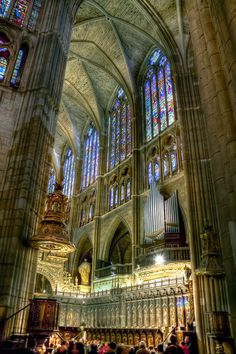 Interior of the Santa María de León Cathedral, León, Spain