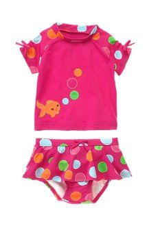 Blow Fish Cutie Cute blow fish and polka dots for swim time fun. Our fashionable rash guard swim set features pretty ruched bow sleeves and ruffle bottom for a beachy look that's both sweet and sensible.