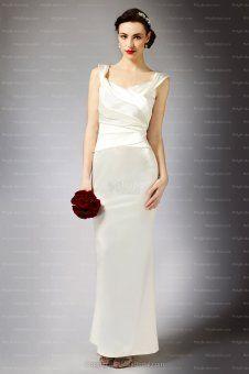 Ivory Chiffon Ankle Length Square Drape Column Wedding Dress