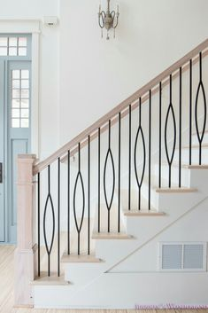My Very Own Staircase Balusters to Heaven. Sharing details on our AMAZING new staircase railings and a full updated foyer tour! Modern Stair Railing, Wrought Iron Stair Railing, Stair Railing Design, New Staircase, Iron Balusters, Staircase Remodel, Staircase Railings, Modern Stairs, Banisters