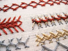 herringbone stitch sampler with variations - Kollabora