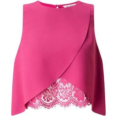 Miss Selfridge Pink Lace Insert Shell Top (935 MXN) ❤ liked on Polyvore featuring tops, shirts, crop top, blusas, pink, fitted lace top, cropped shirts, pink top, fitted crop top and pink lace shirt