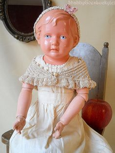 Antique 1930 turtle mark Schildkröt doll, celluloid shoulder head, molded hair on white jointed oilcloth body, ball jointed composition arms