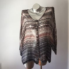 """Sheer print loose top Printed silk loose top with open sleeve kimono style sleeves. Buttons down front. 27"""" shoulder to hem. Print goes from mauve to gray Gypsy 05 Tops Blouses"""