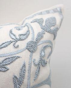 Rew Elliott: Threads: Blue and White Embroidery Pillow Embroidery Patterns, Hand Embroidery, White Embroidery, Cute Blankets, Fine Linens, Decorative Cushions, White Decor, Soft Furnishings, Custom Pillows