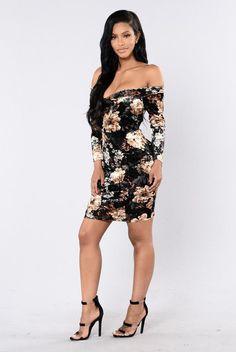 Floral Zone Dress - Black