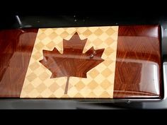 """This """"Canadian Flag"""" end grain cutting board was made of hard maple, black cherry and African padauk. I use CNC milling machine High-Z S-720/T for making inl..."""