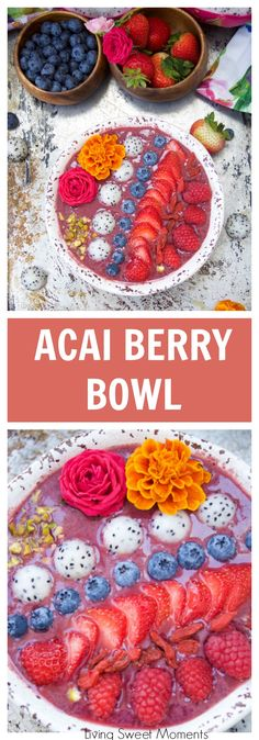 This delicious acai bowl recipe is blended with berries, dragonfruit, and yogurt. It's topped with fresh fruit and nuts. A healthy and quick breakfast idea. (breakfast smoothie recipes with yogurt) Smoothie Recipes With Yogurt, Smoothies With Almond Milk, Breakfast Smoothie Recipes, Delicious Breakfast Recipes, Yummy Smoothies, Healthy Recipes, Acai Recipes, Brunch Recipes, Healthy Food