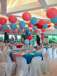Dr. Seuss Centerpiece Ideas | all have flying red, blue and polkadot balloons. The centerpiece ...