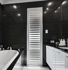 Find inspiration for your new dream home from Residential Attitudes' range of display homes. Black Wall Tiles, Black Walls, White Bathrooms, Beautiful Bathrooms, Decorating Ideas, Decor Ideas, Portfolio Images, Porcelain Tiles, New Home Builders