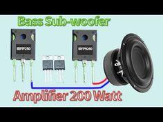 How to make Bass Subwoofer Amplifier 200 Watt wih Mosfet - DIY Subwoofer Diy Subwoofer, Subwoofer Box Design, Subwoofer Speaker, Powered Subwoofer, Speakers, Basic Electronic Circuits, Electronic Circuit Design, Electronic Schematics, Electronics Mini Projects