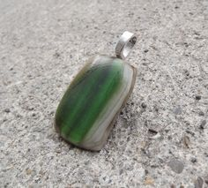 Fused Glass Pendant Grey and Green Pendant Boho by FancyThatFusion, $22.00