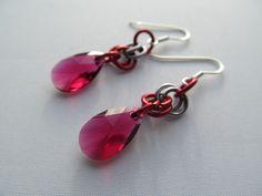 Red swarovski earrings