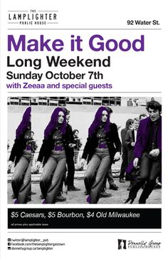 Make It Good Thanksgiving Long Weekend at The Lamplighter - Sunday, October 7th