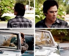 Damon and his car. The Vampire Diaries Season 6