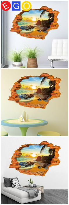 New 3D diy Sunshine Beach Broken wall Fashion removable decorative wall sticker Living room sofa backdrop home decor wall decals