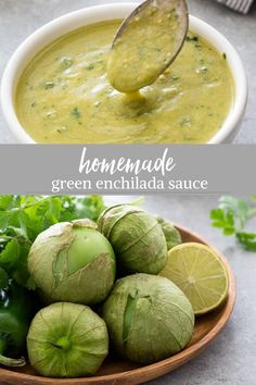 - Homemade Green Enchilada Sauce is an easy, roasted tomatillo enchilada sauce recipe that's fresh, flavorful and comes together in minutes! Green Chile Enchilada Sauce, Green Enchilada Sauce, Recipes With Enchilada Sauce, Homemade Enchilada Sauce, Homemade Enchiladas, Homemade Sauce, Sauce Recipes, Cooking Recipes, Healthy Recipes