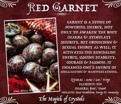 garnet, red, root chakra, sexuality, power, manifestation, metaphysical, crystals, kundalini, sex magick, witch, grounding, passion, spells, book of shadows. www.whitewitchparlour.com