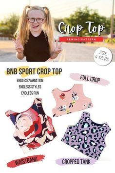 Crop Top sewing pattern (Ages 4-12). This pattern was made with endless variations, endless styles, and endless fun. With this super pattern, you can create your own stylish, athletic crop top for your big kid! There are 3 styling options, including a completely reversible version and variable length. It can be used as swimwear, athletic wear, or casual, and it pairs nicely with the designer's Big Kids' High-Waisted Bummies. Athletic Crop Top, Athletic Wear, Sewing Patterns For Kids, Sewing For Kids, Sports Crop Tops, Kids Tops, Party Tops, Modern Kids, Crop Tank